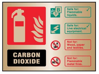 CO2 Extinguisher ID Brass 150x200mm Adhesive Backed Sign